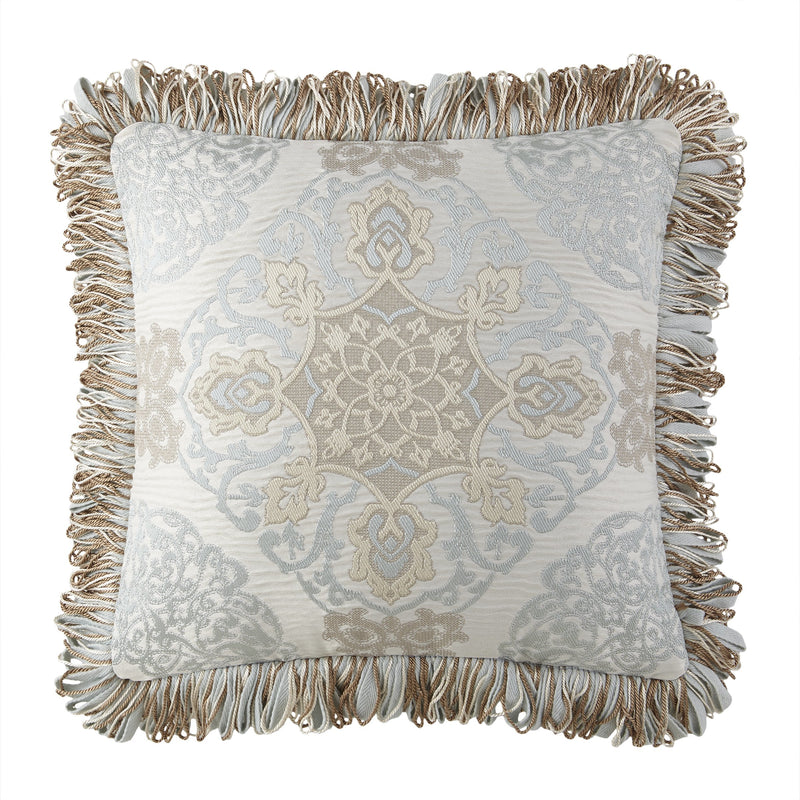 "Jonet Cream/Aqua Dec Pillow 18""x18"" by Waterford [Luxury comforter Sets] [by Latest Bedding]"