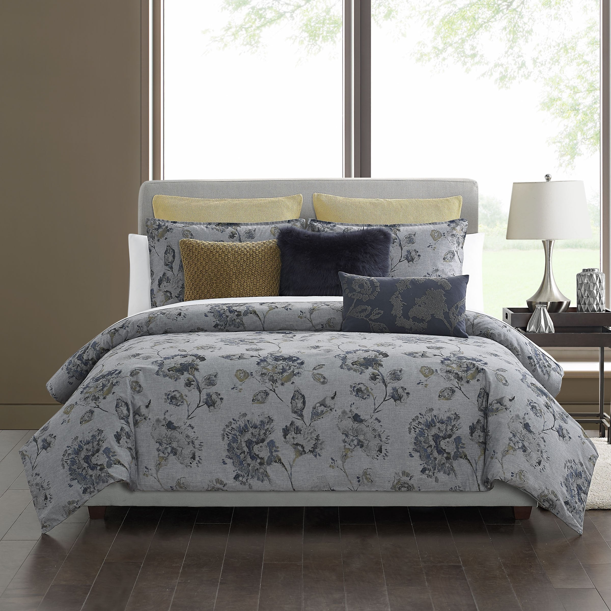 Grayson Slate Grey 3-Piece Duvet Cover Set [Luxury comforter Sets] [by Latest Bedding]
