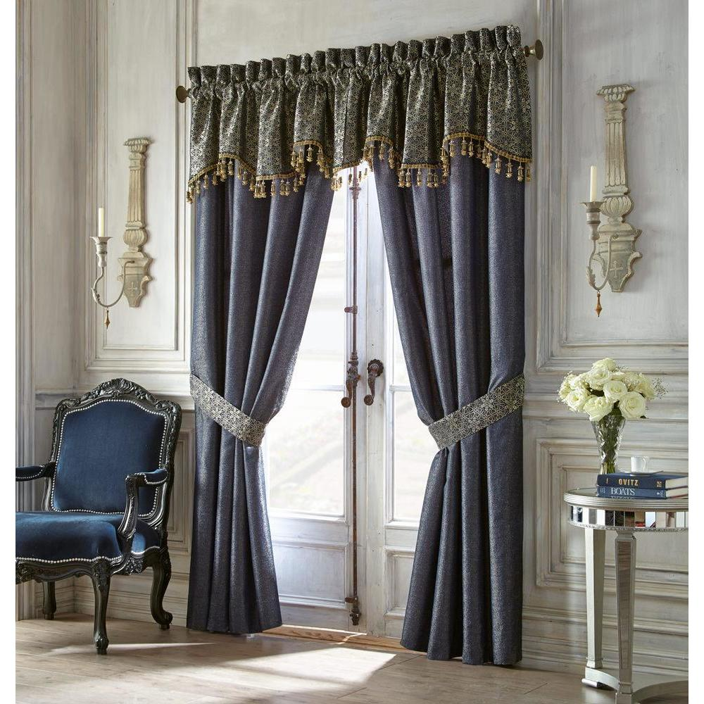 Window Panels Vaughn Navy/Gold Drapery Panel Pair With Tiebacks by Waterford Latest Bedding