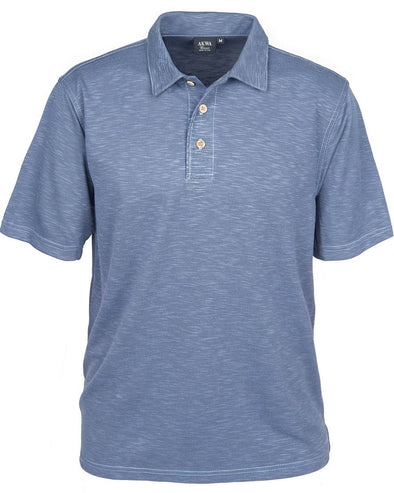 AKWA Men's Slub Pique Polo made in usa shirts