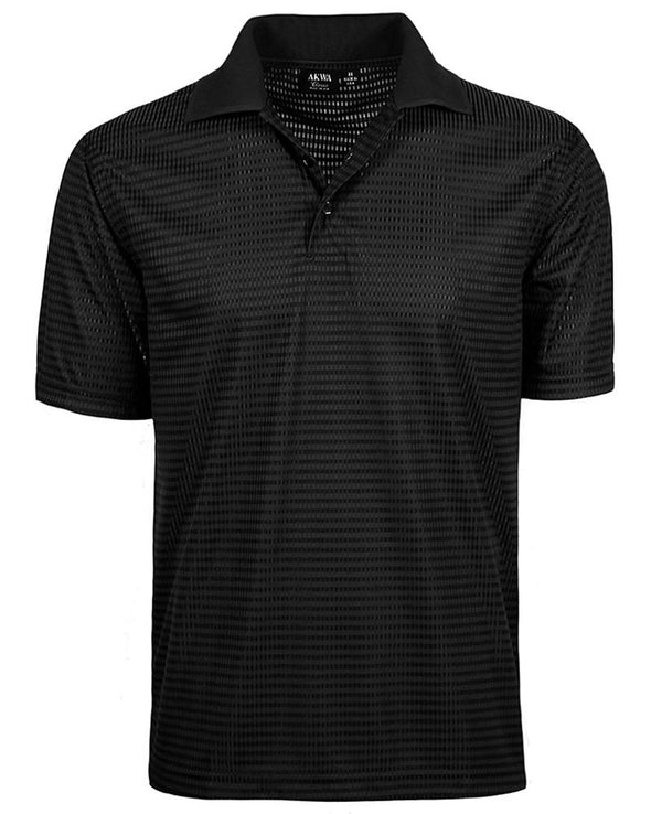 AKWA Men's Drop Needle Check Polo Made in America