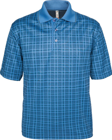 Made in USA Blue Plaid Men's Polo