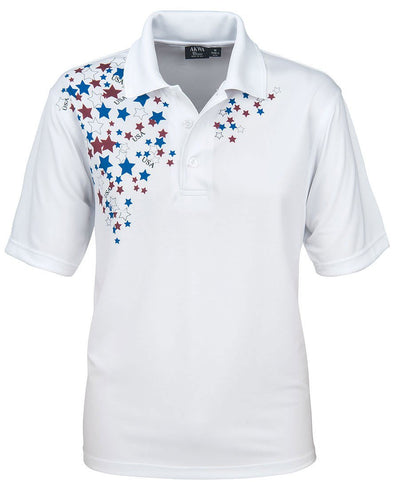 AKWA Men's Patriotic Polo (Poly Ottoman) american clothes