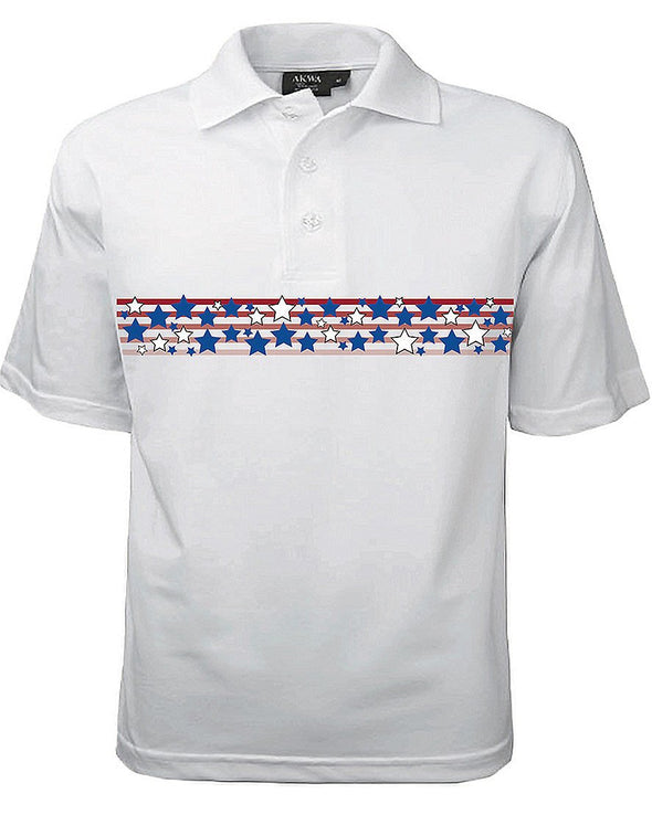 AKWA Men's Patriotic Polo (Stars & Stripes) american t shirt