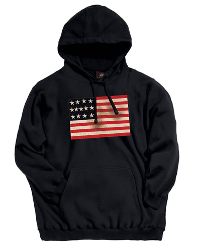 Men's Patriotic Flag Hoodie with Sew on American Flag 1735-CVC