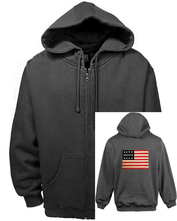 AKWA Patriotic Full Zip Hoodie (US Flag Applique on the back) made in usa