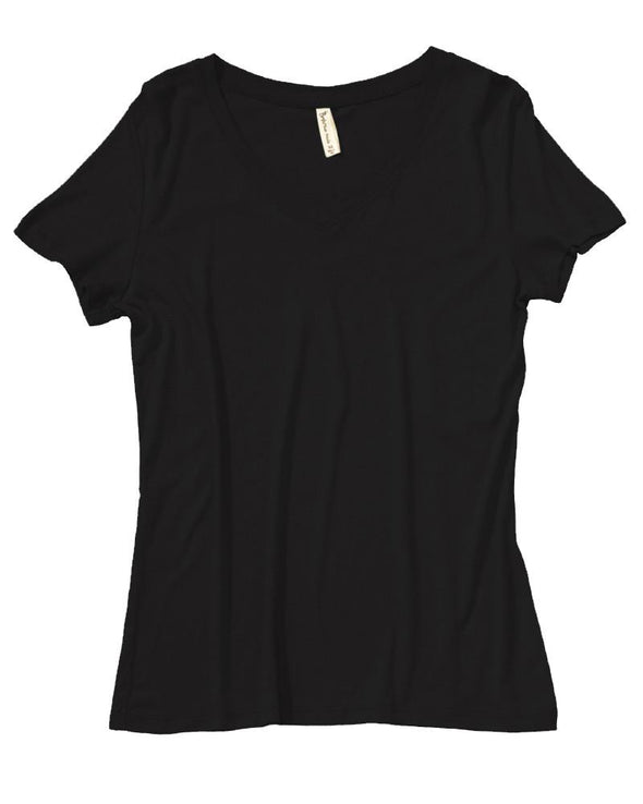 AKWA Women's Bamboo Cotton Jersey V-Nack Tee made in USA