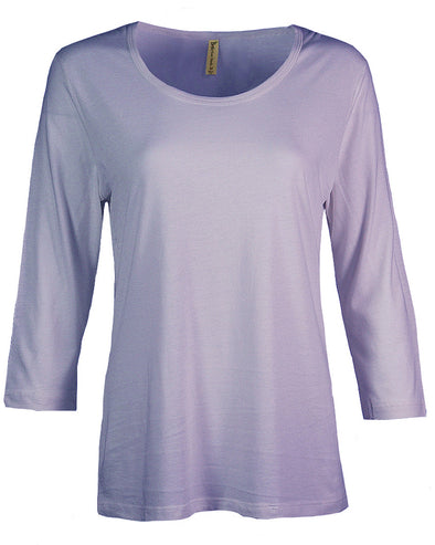 Made in USA Women's Bamboo Cotton Jersey 3/4 Sleeve Scoop Neck Tee