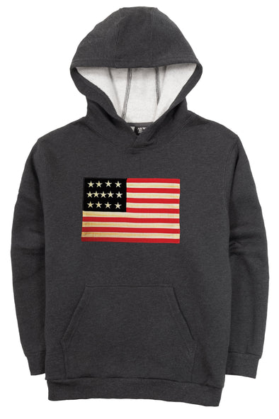 LOVE USA APPAREL Men's Heavy Duty Heavy Weight Micro Fleece Hoodie Sweatshirt with Flag Made in USA Black