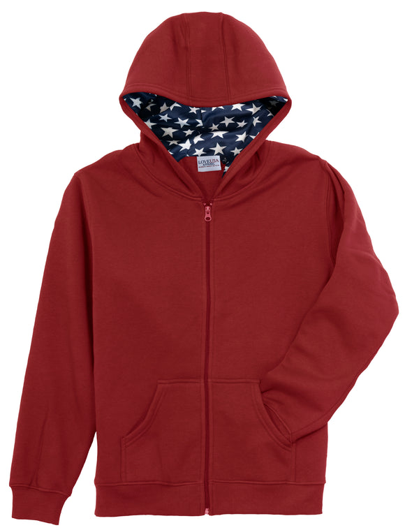 LOVE USA APPAREL Men's Heavy Duty Heavy Weight Micro Fleece Patriotic Full Zip Hoodie Sweatshirt with Stars Lined Hoodie Made in USA