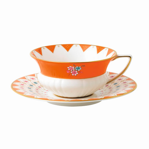 Wedgwood Peony Diamond Teacup & Saucer