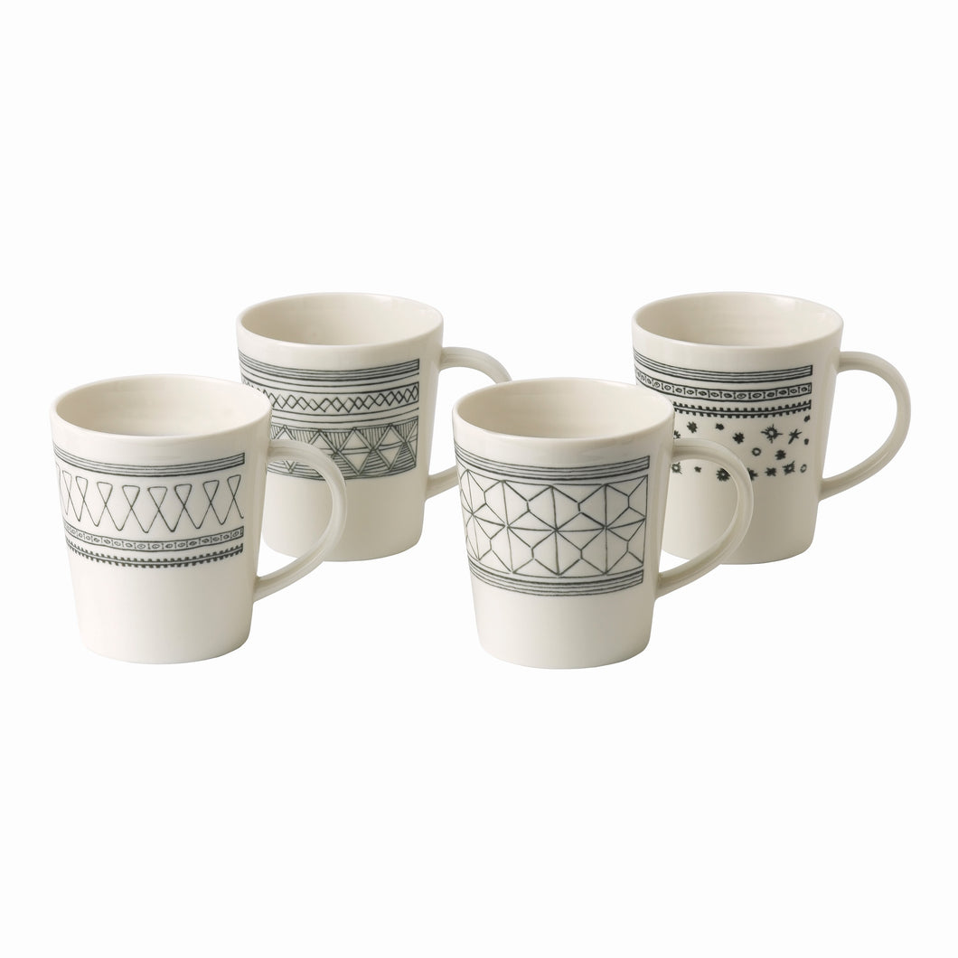 Royal Doulton Ellen DeGeneres Charcoal Grey Mug 475ml Set of 4