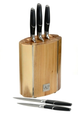 Cutlery Home Oval Wooden Knife Block 6 Piece Set