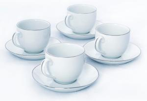 Royal Worcester Classic Platinum Teacup & Saucer Rounded x 4 - LAST FEW AVAILABLE!