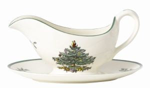 Spode Christmas Tree Sauce Boat & Std (0.28ltr) - LAST FEW AVAILABLE!