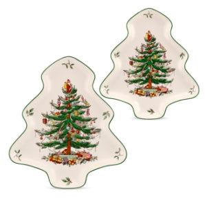 Spode Christmas Tree Tree Shaped 2pce Nesting Dish Set (25.5cm & 20cm) - LAST FEW AVAILABLE!
