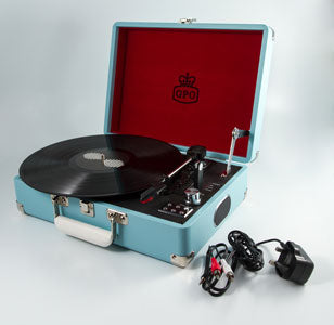 GPO Retro Attache Case Turntable Sky Blue - LAST FEW AVAILABLE!