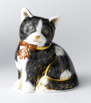 Royal Crown Derby Paperweights Kitten - Black & White (8cm)