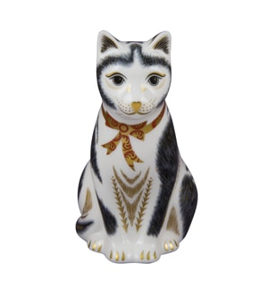 Royal Crown Derby Paperweights Black & White Cat (12.5cm) - SOLD OUT
