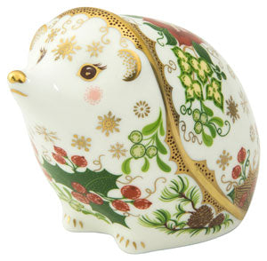 Royal Crown Derby Paperweights Christmas Hedgehog (8.5cm)