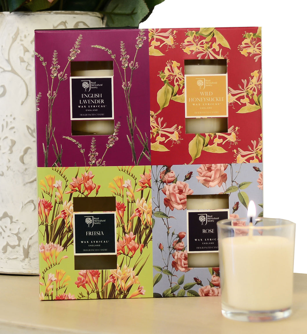 Wax Lyrical RHS Fragrant Garden 4 Candle Gift Set Assorted Votives - LAST FEW AVAILABLE!