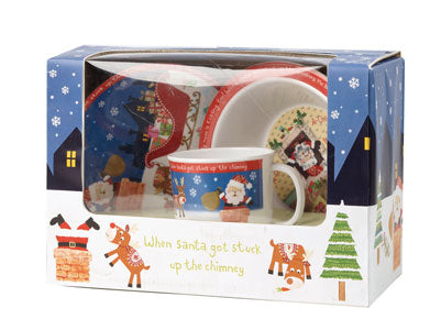 Kids Santa Got Stuck Up the Chimney 3 Piece Melamine Set - SOLD OUT