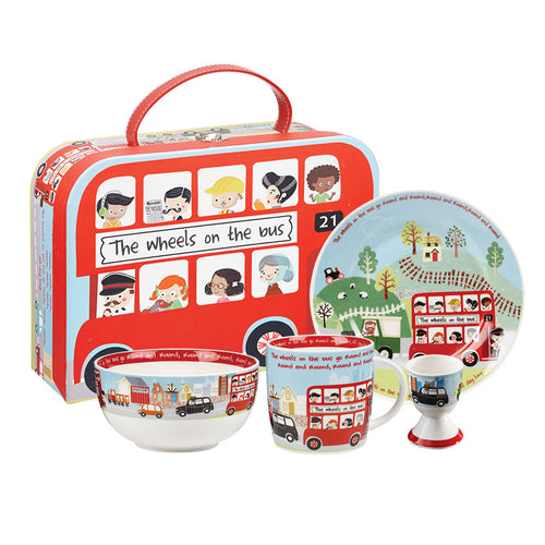 Wheels on the Bus 4 Piece Breakfast Set