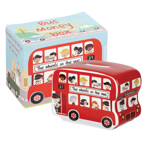 Wheels on the Bus Money Box (H7cm x D9.5cm x W5.5cm)