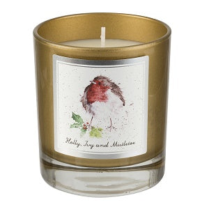 Royal Worcester Wrendale Wax Filled Glass Candle Robin (8.1cm x 8.1cm x 9.6cm)