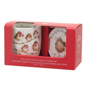 Royal Worcester Wrendale Family Christmas Mug & Coaster Set