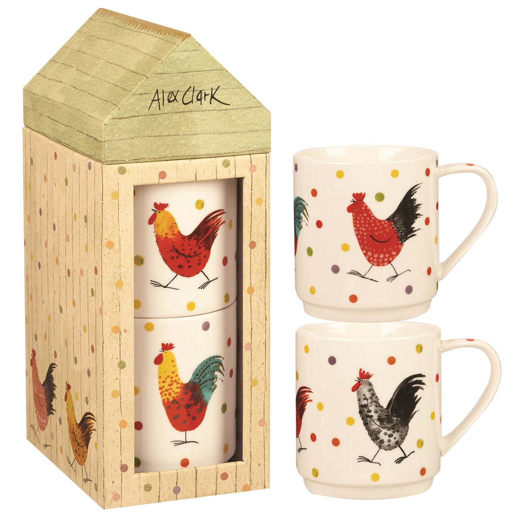 Churchill Rooster Stacking Mugs Set of 2
