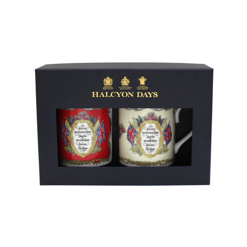 Halcyon Days Vivat Regina - Red & Ivory - Mug Set x 2