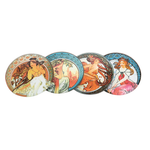 John Beswick Mucha Set of Four Coasters with Holder