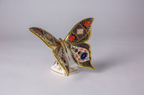 Royal Crown Derby Old Imari Solid Gold Band Butterfly