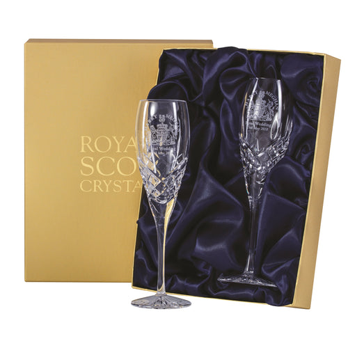 Royal Scot Crystal Flute Champagnes Hand Cut Windsor Set of 2 - LAST FEW AVAILABLE!
