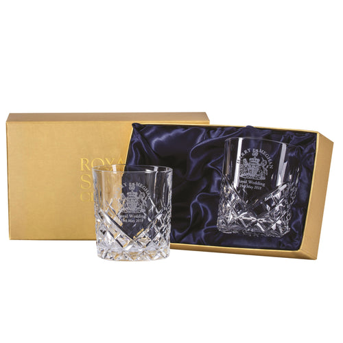 Royal Scot Crystal Large Tumblers Hand Cut Windsor Set of 2 - LAST FEW AVAILABLE!