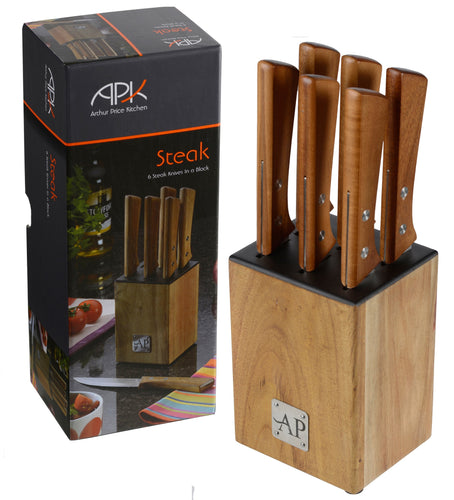 Arthur Price 6 Steak Knives in Wooden Block Set - LAST FEW AVAILABLE!