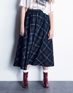 Green Plaid Full Circle Skirt With Smocked Waistband