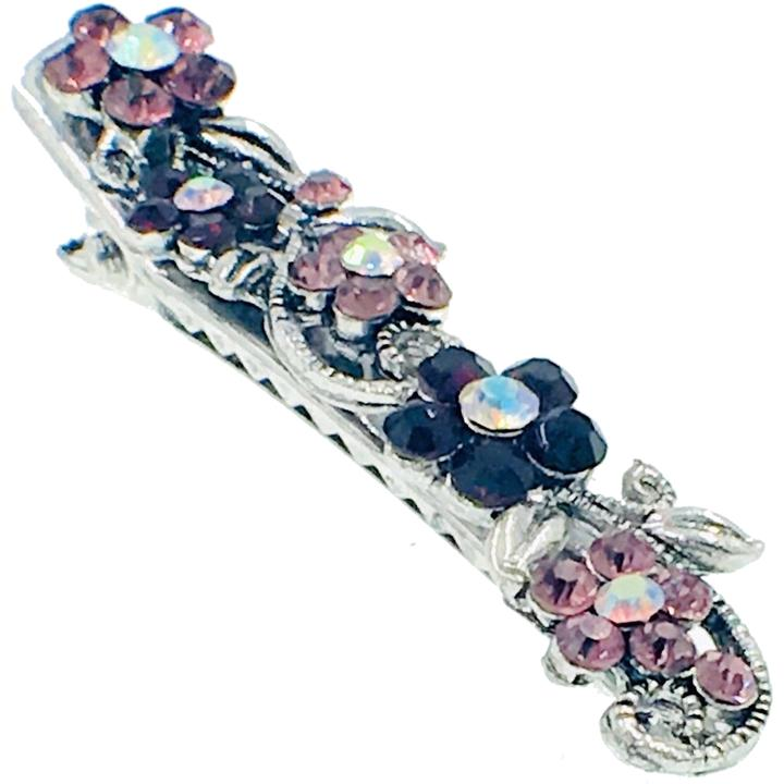 Flower Hair Claw Clip Clamp Alligator Pelican Beak Rhinestone Crystal Nave blue