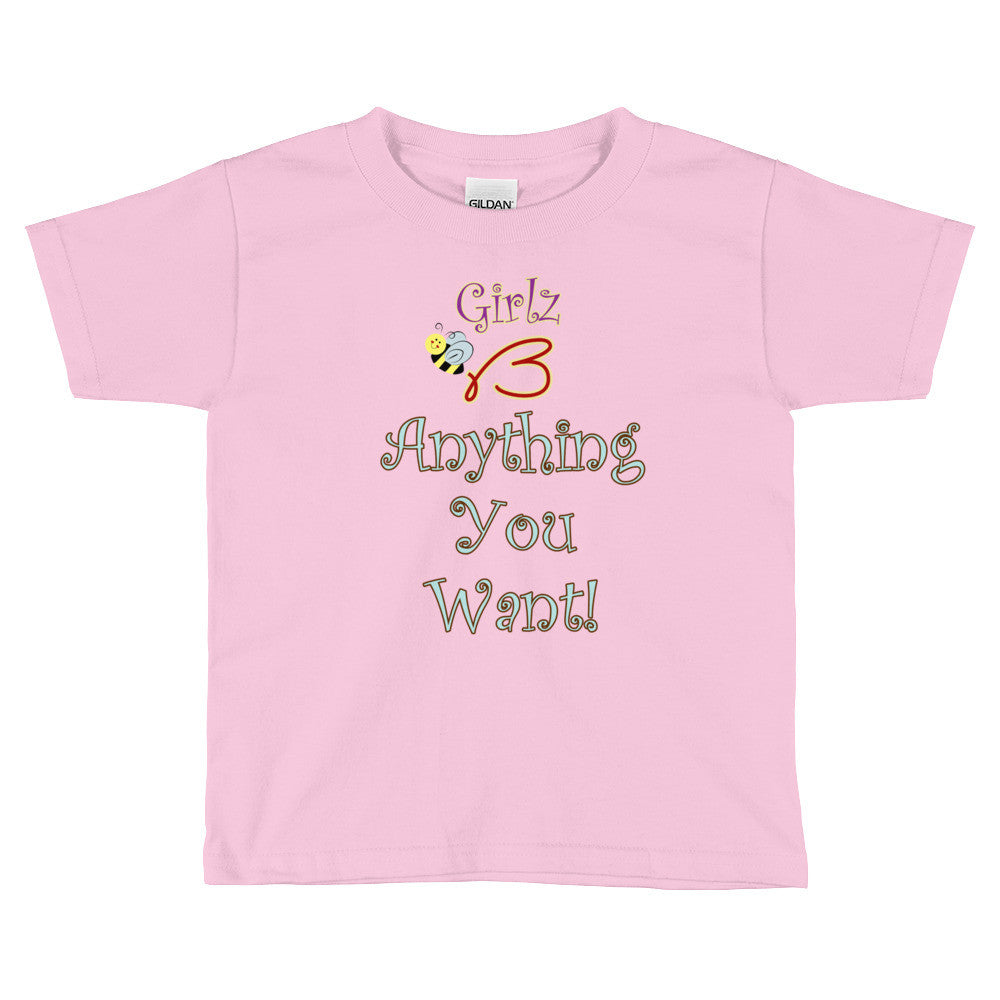"Kids Short Sleeve T-Shirt - ""Girlz B Anything You Want!"" Design"