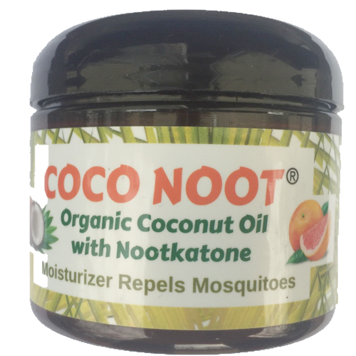 Virgin Organic Coconut Oil with Nootkatone scent moisturizes skin and repels mosquitoes and ticks.  Noot