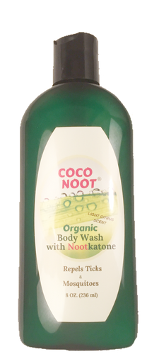 Coco Noot organic castile soap, body wash repels ticks and mosquitoes naturally.  Nootkatone citrus scent.  Noot ®