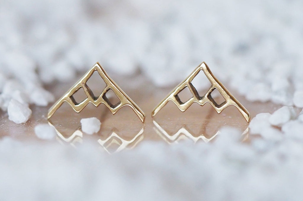 Mijatu Alpine Stud Earrings Handcrafted in solid Sterling Silver and Gold