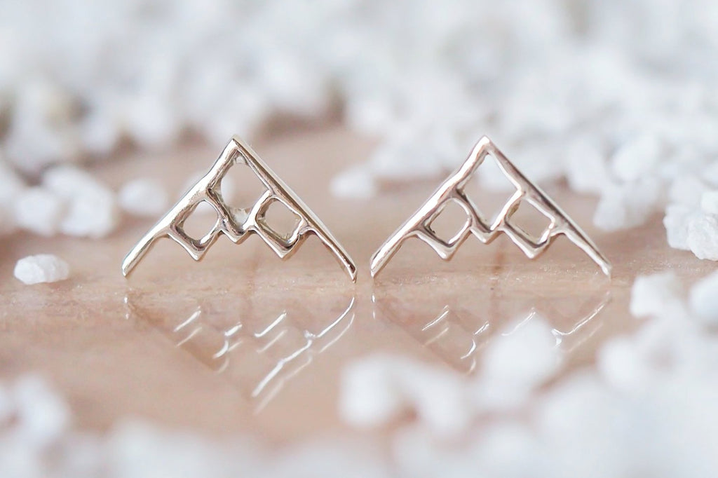 Mijatu Alpine Stud Earrings Handcrafted in solid Sterling Silver