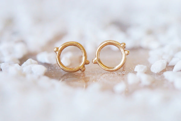 Mijatu Eternity Stud Earrings Handcrafted in solid Gold