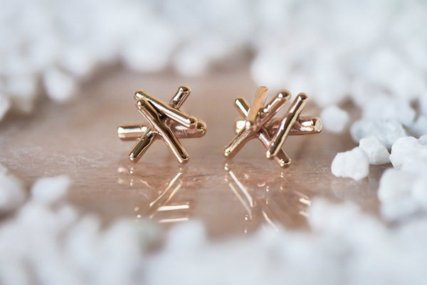 Mijatu Firewood Stud Earrings handcrafted in solid Gold