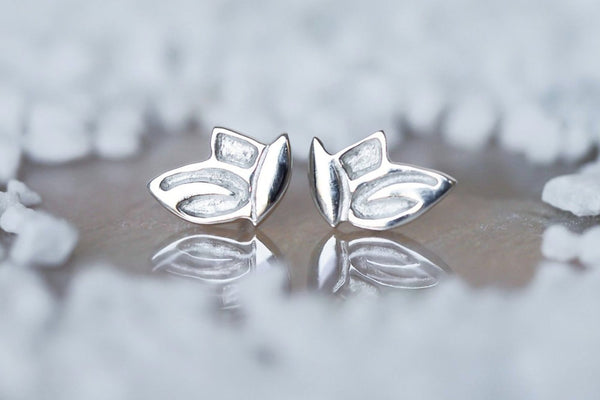 Mijatu Leaves Stud Earrings handcrafted in solid Sterling Silver