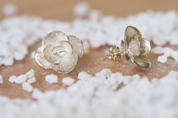 Mijatu Sunsparkler Stud Earrings handcrafted from real succulents in solid Sterling Silver and Gold