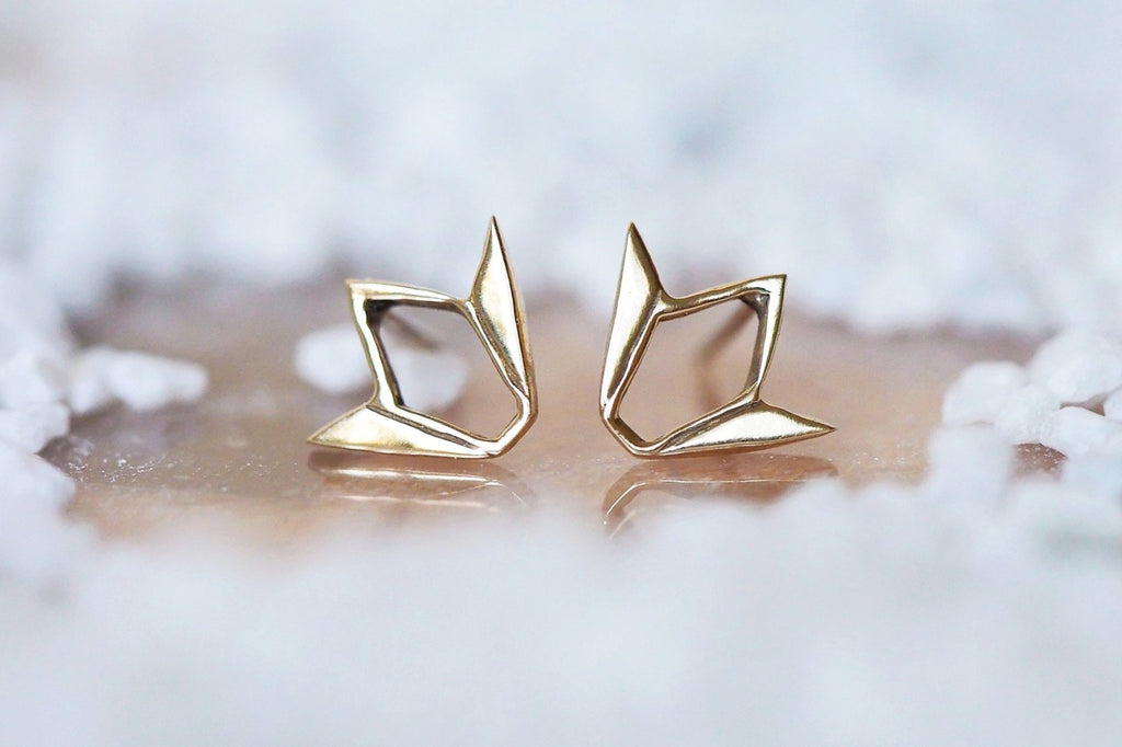 Mijatu Tulip Stud Earrings Handcrafted in solid Sterling Silver and Gold