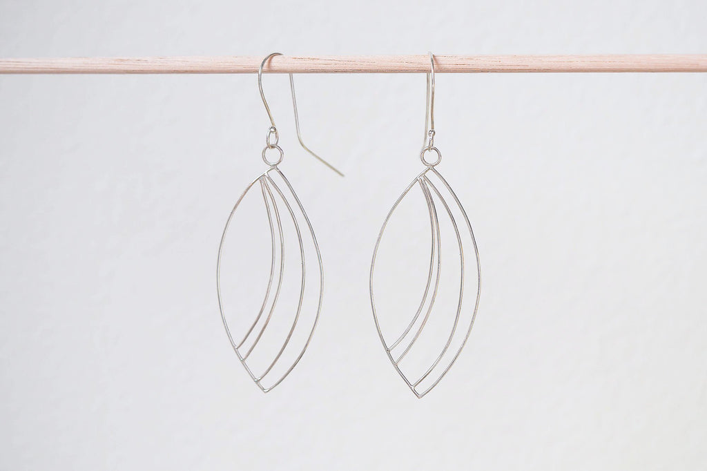 Mijatu Chrysalis Drop Earrings handcrafted in solid Sterling Silver